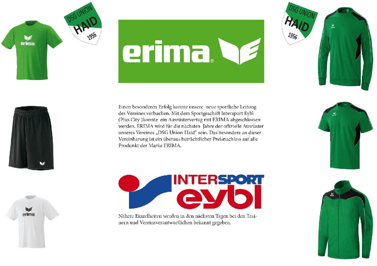 Ausrüstervertrag mit Intersport Eybl und Erima News DSG
